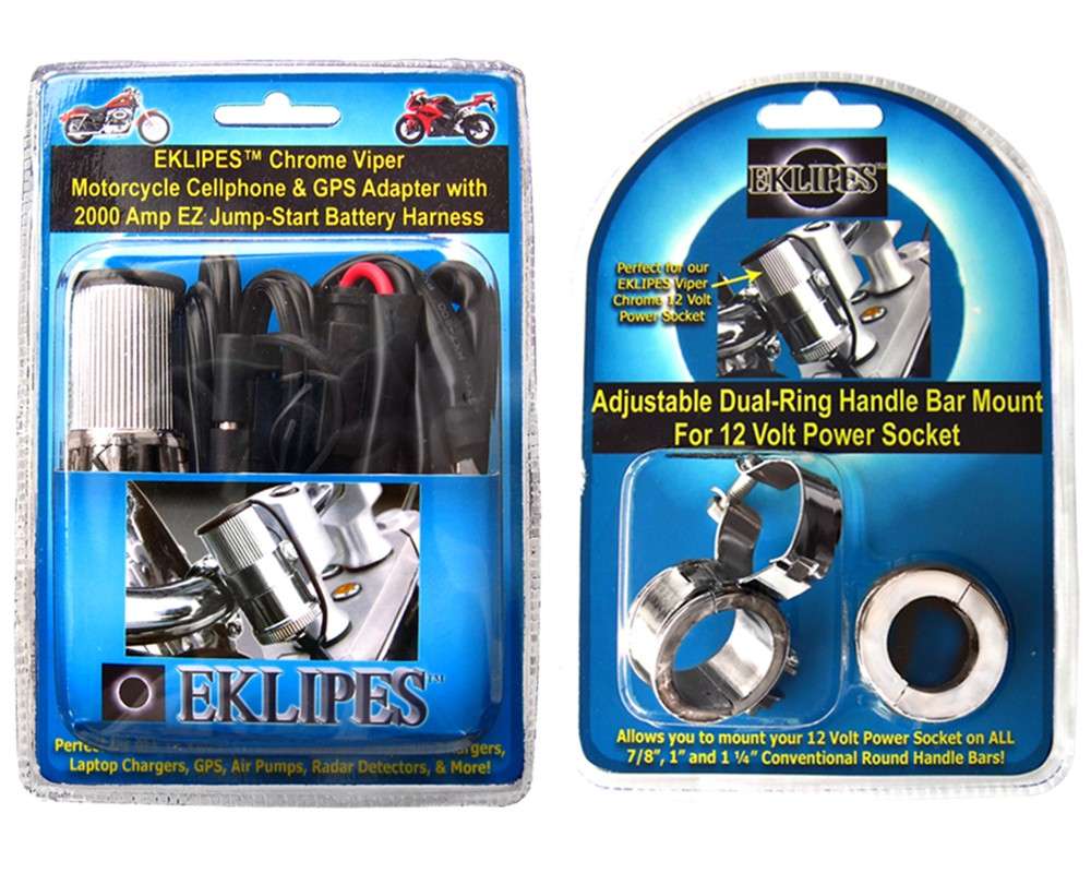 Chrome Viper And Handlebar Mount Bundle Pack Moto Led Ez Electric Wire Kit
