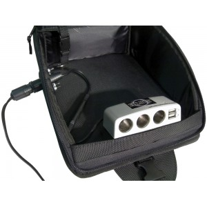 Silver Motorcycle Tank / Saddle Bag Multi-Port Charging Station