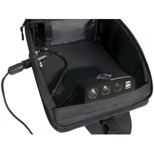 Black Motorcycle Tank Bag Multi-Port Charging Station